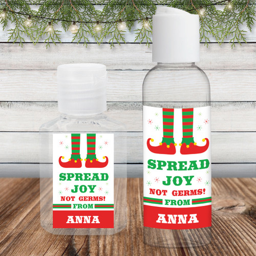 Custom Hand Sanitizer Labels: Christmas Elf Spread Joy Not Germs