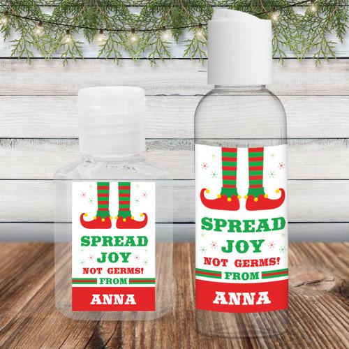 Custom Hand Sanitizer Labels & Bottles: Christmas Elf Spread Joy Not Germs