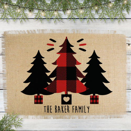 Personalized Perfectly Plaid Trees Jute Placemat