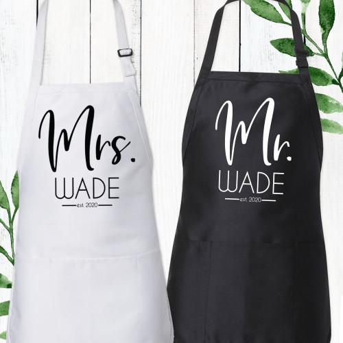 Personalized Modern Mr. & Mrs. Apron Set