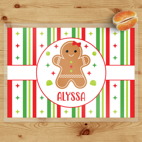 Personalized Gingerbread Kid Christmas Laminated Placemat