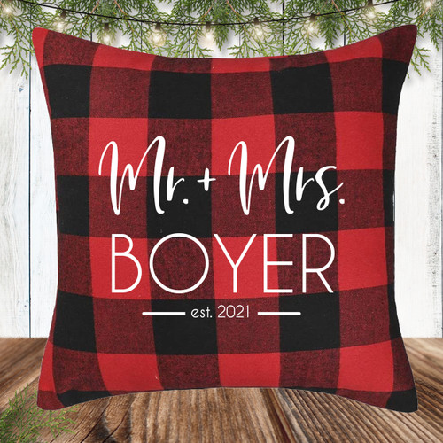 Personalized Red and Black Plaid Modern Mr. & Mrs. Throw Pillow Cover