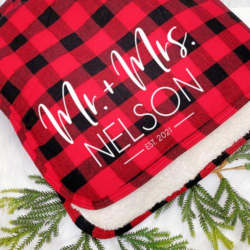 Personalized Plaid Modern Mr. & Mrs. Sherpa Red Buffalo Plaid Throw Blanket