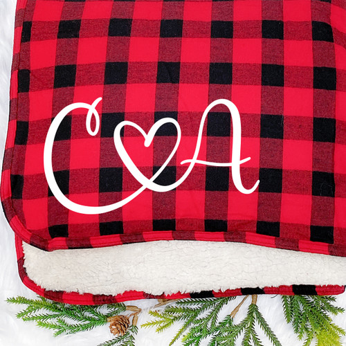 Personalized Plaid True Love Sherpa Throw Blanket in Red Buffalo Plaid