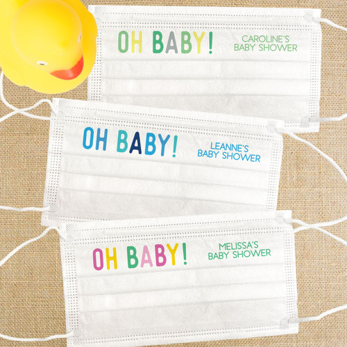 Disposable Face Mask Set: Custom Oh Baby! Baby Shower Masks for Adults with Nose Wire