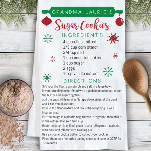 Personalized Christmas Cooking Crew Family Recipe Kitchen Towel