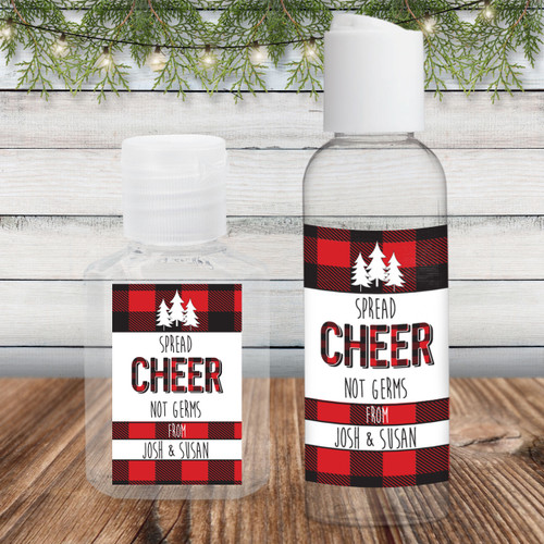 Custom Hand Sanitizer Labels: Perfectly Plaid Spread Cheer Not Germs