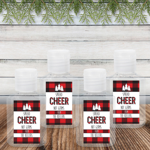 Custom Hand Sanitizer Labels & Bottles: Perfectly Plaid Spread Cheer Not Germs