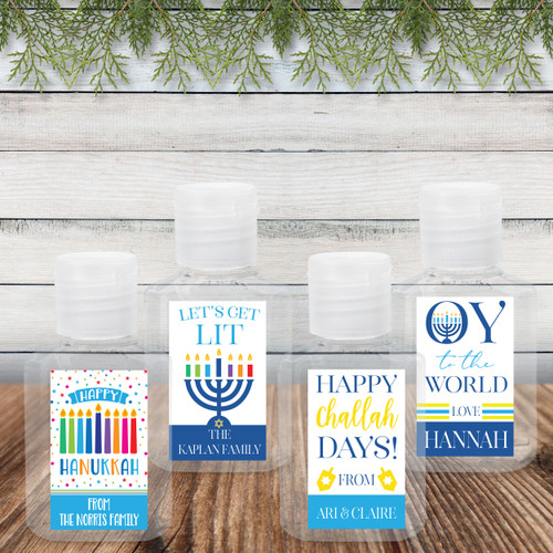 Custom Hand Sanitizer Labels: Hanukkah Party Favor Bulk Quarantine Favors & Gifts
