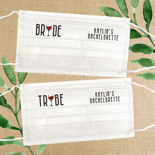 Disposable Face Mask Set: Personalized Wine Bachelorette Bride Tribe Masks