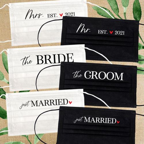 Disposable Face Mask Set: Modern Just Married Wedding Masks for Bride & Groom/Newlyweds/Honeymoon