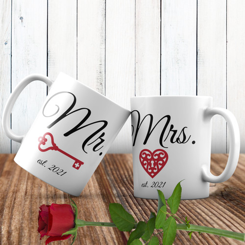 Personalized Key To My Heart Mr. & Mrs. Mug  - Valentines Day, Anniversary or Wedding Gift