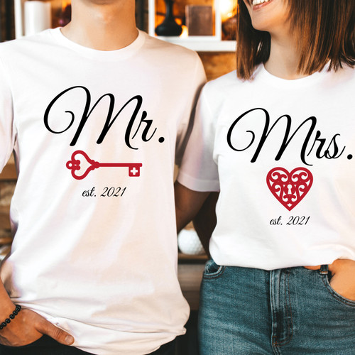 Matching Valentines Day Shirts for Couples - His and Hers - Mr & Mrs T-Shirt Set