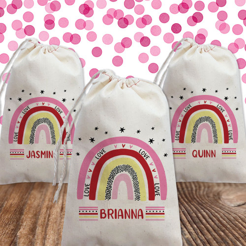 Personalized Gift Bag: Mod Rainbow Valentines Day