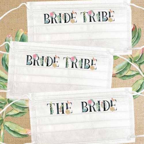 Cactus Bachelorette Masks - Disposable Bride Tribe Succulent Floral Mask Set