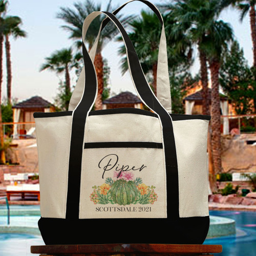 Personalized Beach Tote Bag: Floral Cactus + Succulents Custom Canvas Beach Bag for Women