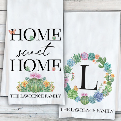 Monogrammed Tea Towels - Floral Wreath Succulent Cactus Kitchen Decor + Home Sweet Home Gifts
