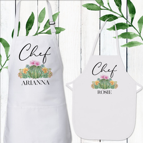 Personalized Matching Girls + Womens Aprons - Boho Cactus Floral