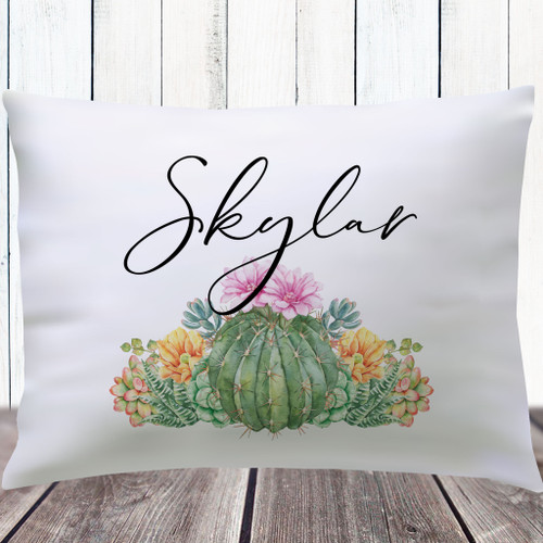 Personalized Pillowcases for Teen Girls - Desert Floral Pillow Cover - Pink and Green Cactus Flower Bedding