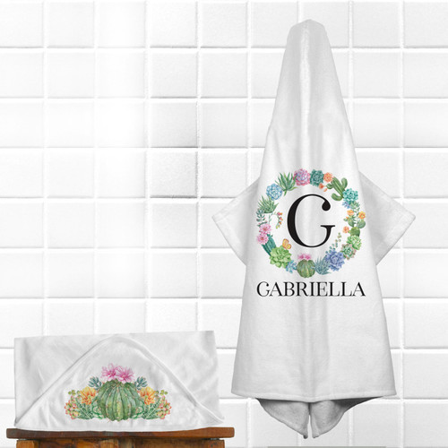 Personalized Baby Girl Hooded Bath Towel - Cactus Baby Shower Gift