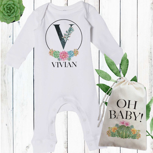 Personalized Floral Succulent Baby Romper for Newborn Girls