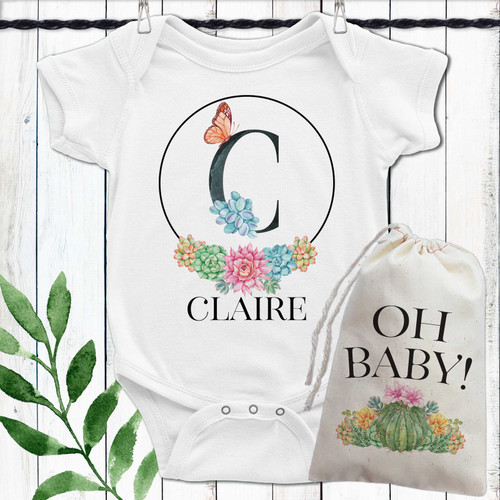 Personalized Floral Succulent Baby Girl Outfit Set for Cactus Theme Shower