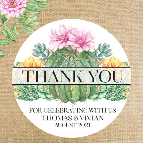 """Personalized Wedding Favor Labels for Succulent or Cactus Floral Wedding - 2"""", 2.5"""" and 3"""" Round Favor Stickers"""