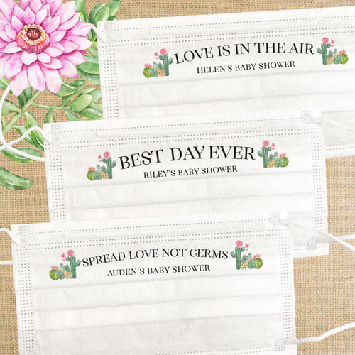 Disposable Baby Shower Guest Face Masks & Sanitizers: Floral Cactus Party Favors - Succulent Theme Baby Shower