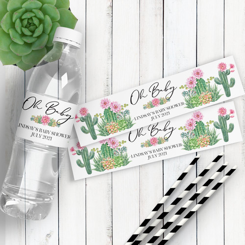 Personalized Baby Shower Water Bottle Labels: Floral Cactus & Succulent Theme Favor Stickers - Oh Baby