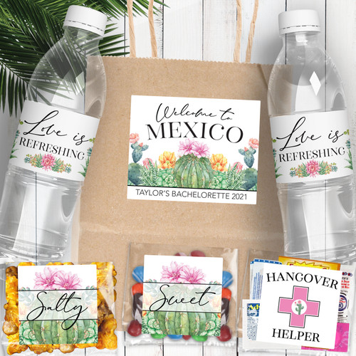 Cactus Bachelorette Party Welcome Bags - Gift Bag Favor Label Kit - Water Bottle Labels, Salty + Sweet Stickers, Hangover Kit Labels