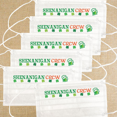 St. Patrick's Day Disposable Face Masks for Adults  - Shenanigan Crew