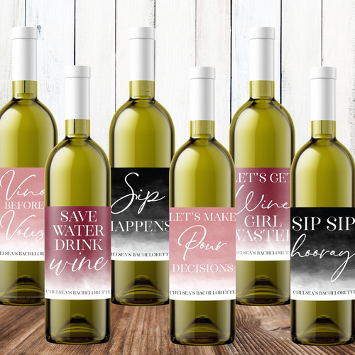 Personalized Bachelorette Wine Labels with Sayings: Vino Before Vows, Save Water Drink Wine, Sip Happens, Pour Decisions, Wine Girl Wasted and Sip Sip Hooray