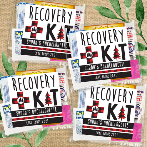 Plaid Bachelorette Party Hangover Recovery Kit Bags + Labels - Personalized Survival Kits + Favor Stickers