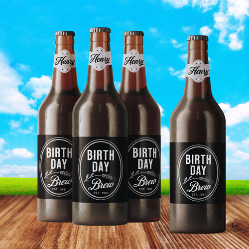 Personalized Birthday Brew Beer Bottle Labels