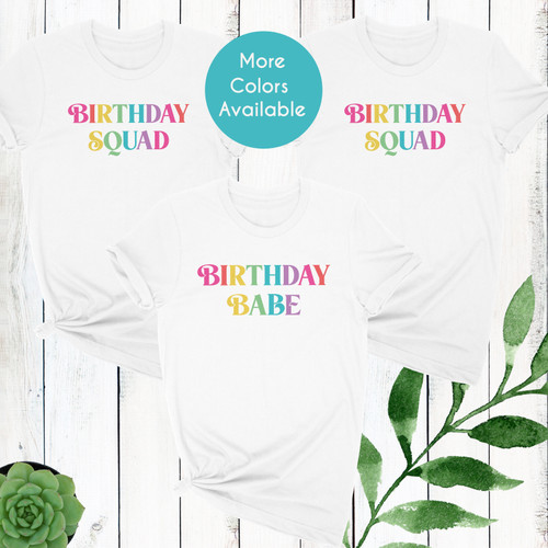 Multicolor Birthday Squad + Birthday Babe Shirts for Teen Girls & Women - Pastel Rainbow