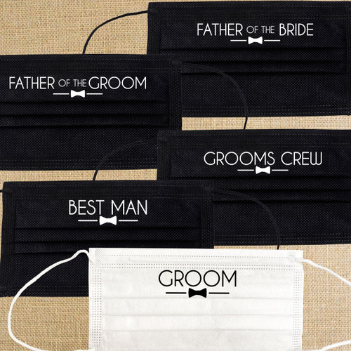 Groom's Crew Wedding Party Disposable Face Masks  - Groom Mask, Groomsman Mask, Best Man Mask, Father of the Bride Mask, Father of the Groom Mask