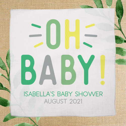 Oh Baby! Custom Gender Neutral Baby Shower Favor Handkerchiefs in Leaf Green, Mint Green, Pastel Yellow and Gray