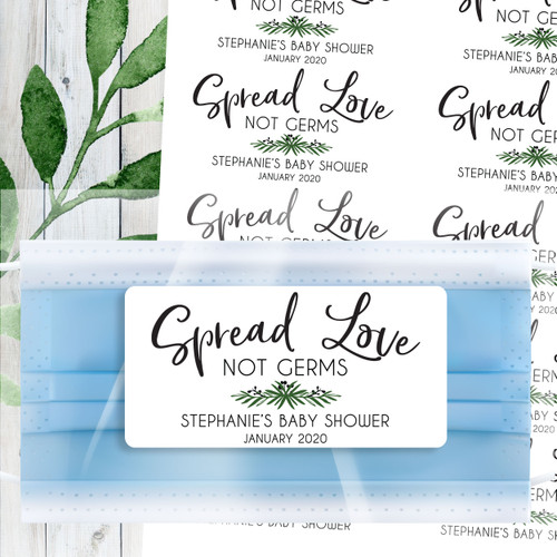 Custom Greenery Leaf Baby Shower Favor Labels: Face Mask Bags and Stickers