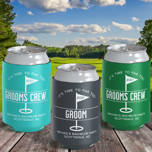 Custom Can Cooler: Groomsman Golf  Bachelor Party Favors