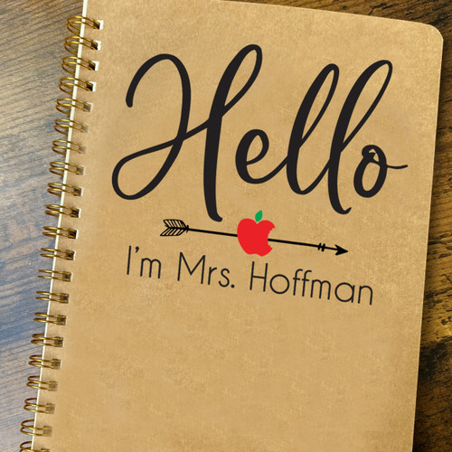 Personalized Hello Teacher Notebook with Name