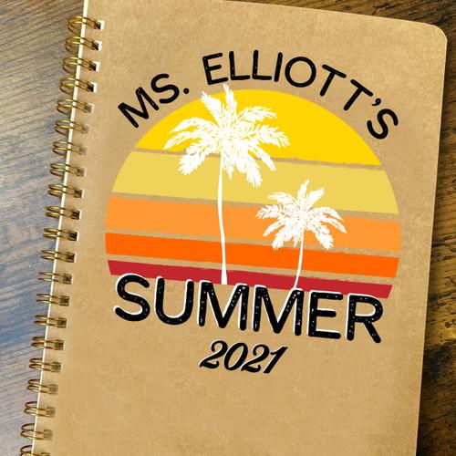 Personalized Summer Break Teacher Notebook - Custom Palm Tree Beach Journal