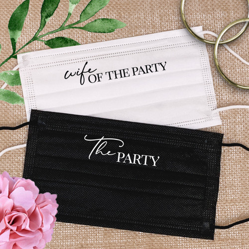 Wife of the Party Disposable Masks for Bachelorette Party or Bridal Shower