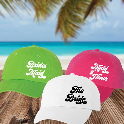 Retro Bridal Party Baseball Hats for The Bride, Bridesmaids and Maid of Honor