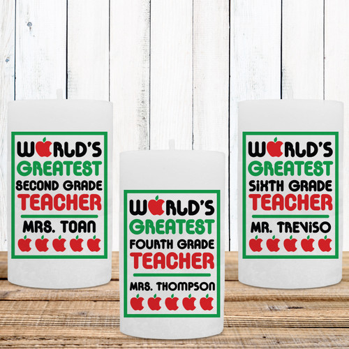 World's Greatest Teacher Personalized Candle