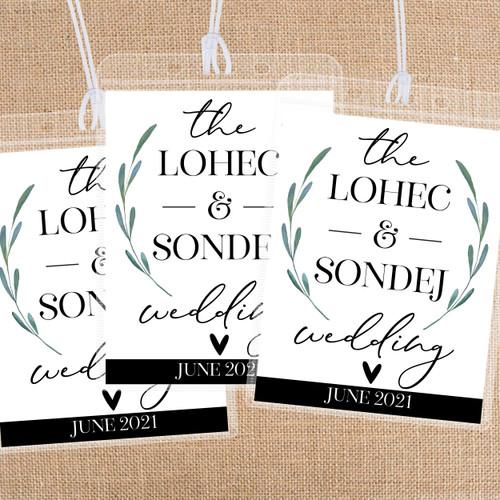 Leaf & Heart Custom Wedding Bag Tags for Greenery Wedding