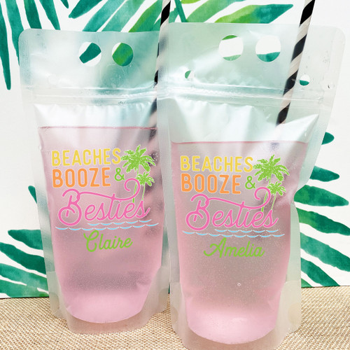 Beaches Booze & Besties Custom Drink Pouches for Beach Bachelorette or Girls Trip