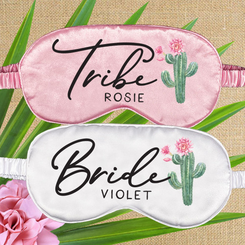 Cactus Bride Tribe Eye Sleep Masks for Bridesmaid and Final Fiesta Bachelorette Party