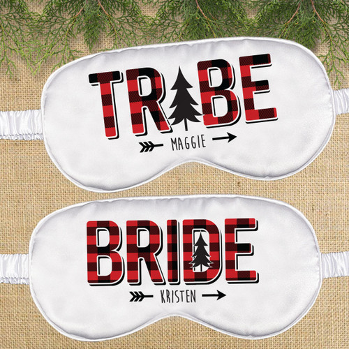 Plaid Bride Tribe Eye Sleep Masks for Flannel Fling Bachelorette and Bridal Party