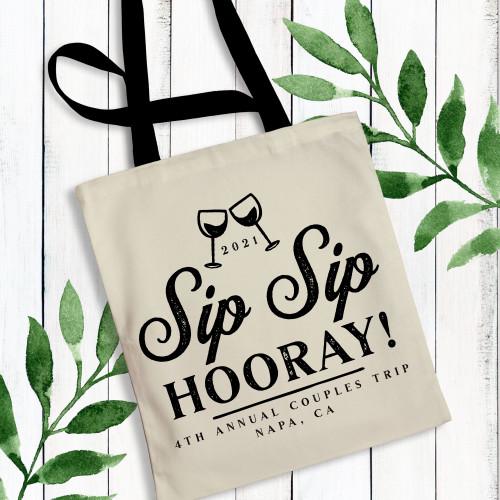 Sip Sip Hooray Custom Wine Tote Bags for Wine Tasting, Winery Tour, Wine Theme Birthday Party