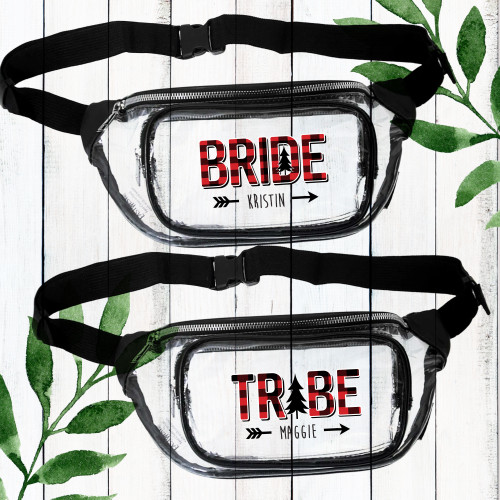 Plaid Flannel Bride Tribe Personalized Fanny Packs for Cabin Bachelorette, Mountain Wedding, Camping Bridal Shower - Custom Bridesmaid Waist Bags for Women